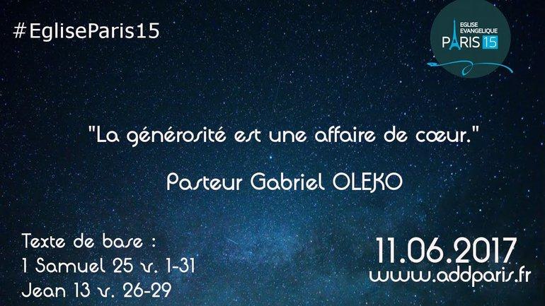 La générosité est une affaire du cœur - Pasteur Gabriel OLEKO