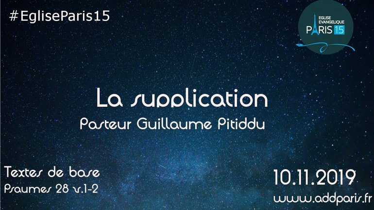 """LA SUPPLICATION"" Pasteur Guillaume PITIDDU"