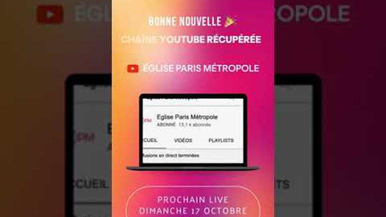 Chaine Youtube Officielle de nouveau opérationnelle à compter du Dimanche  17 Octobre 2021