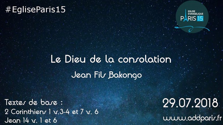 Le Dieu de la consolation - Jean Fils Bakongo