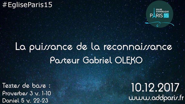 La Puissance de la Reconnaissance - Pasteur Gabriel OLEKO